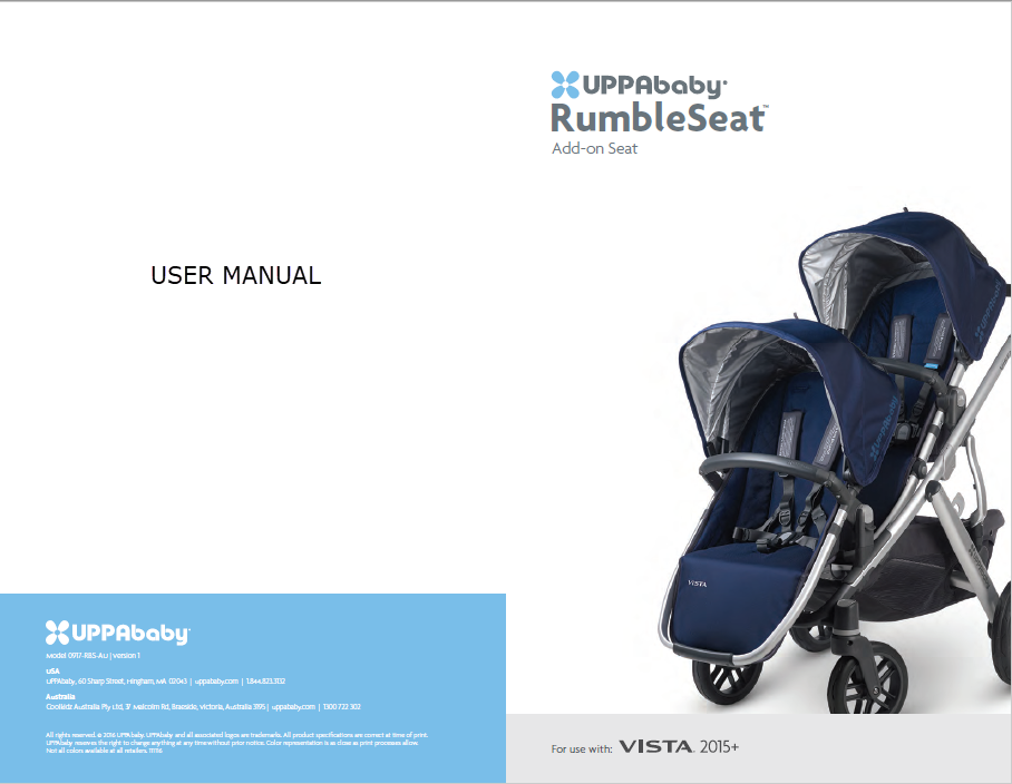Uppababy Vista Rumble Seat Baby By Lisa